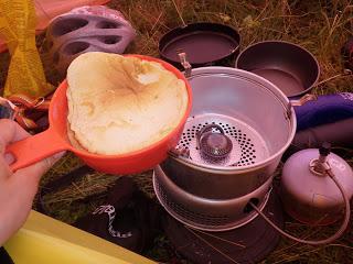 pannkaka, stormkök, trangiakök, friluftsmat